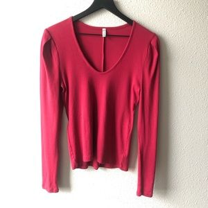 Free People Intimately Cranberry Long Sleeve Top